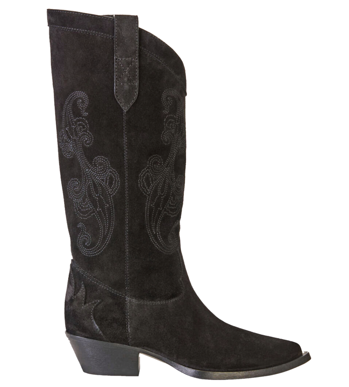 Etro suede boots with paisley embroidery, £855