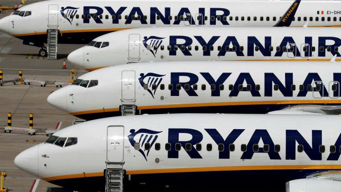 Ryanair aircraft at Stansted airport in the UK