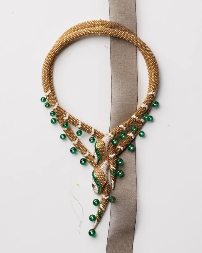 Bulgari gold, emerald and diamond Magnifica Serpenti necklace, POA. JulienFaure Opalin 42618 ribbon
