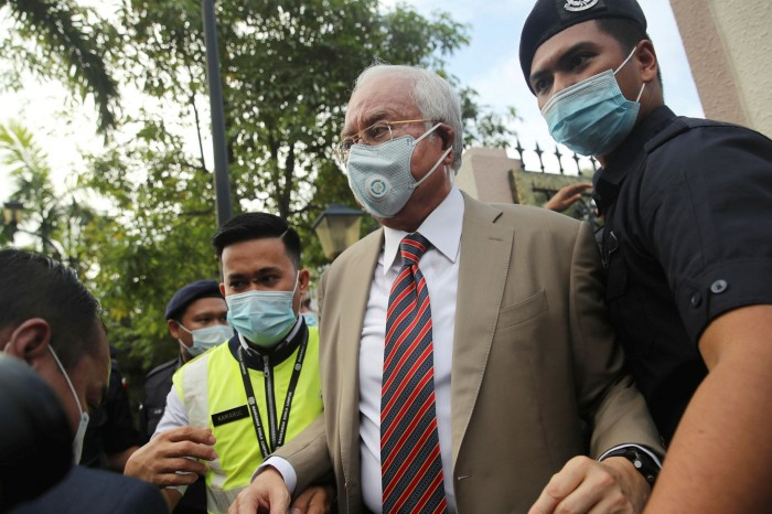 Najib Razak, the former Prime Minister of Malaysia, out of court in Kuala Lumpur in July 2020