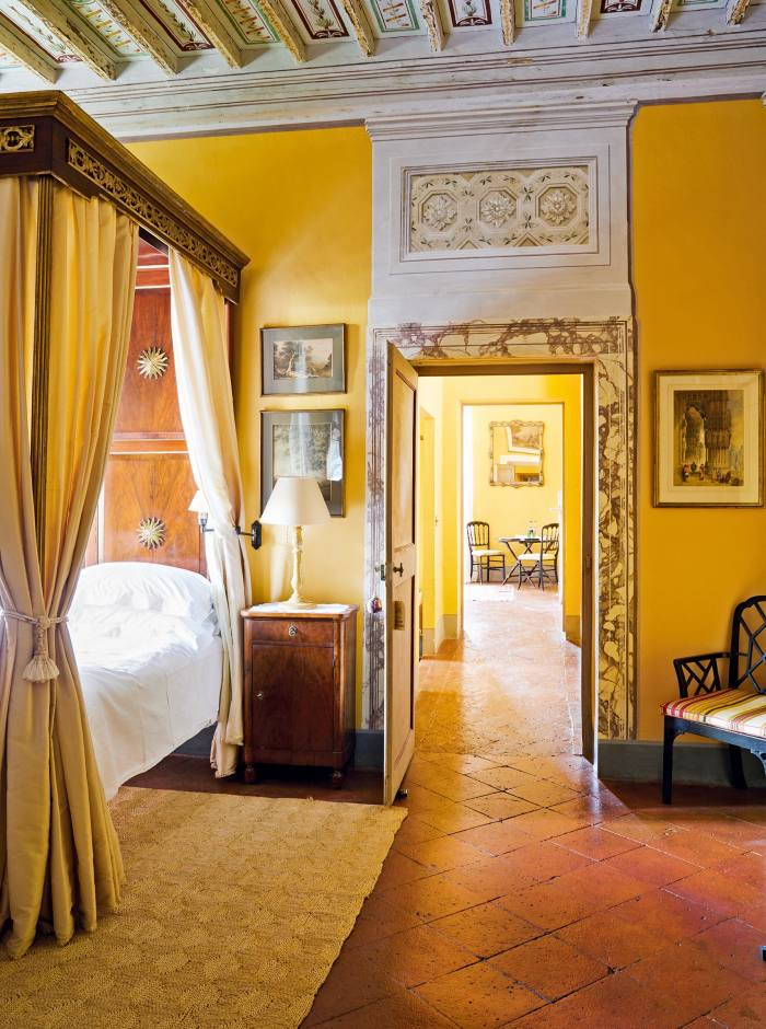 One of the bedrooms at Villa Cetinale, refurbished by Camilla Guinness