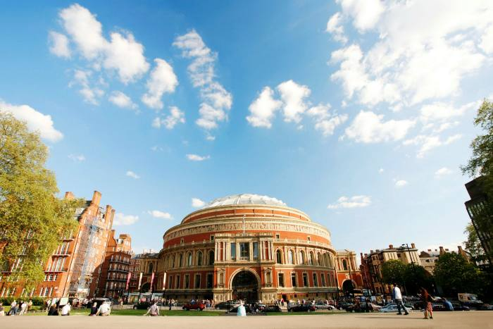 The photo shows the Royal Albert Hall in London, the venue of the BBC Promenade Music Festival