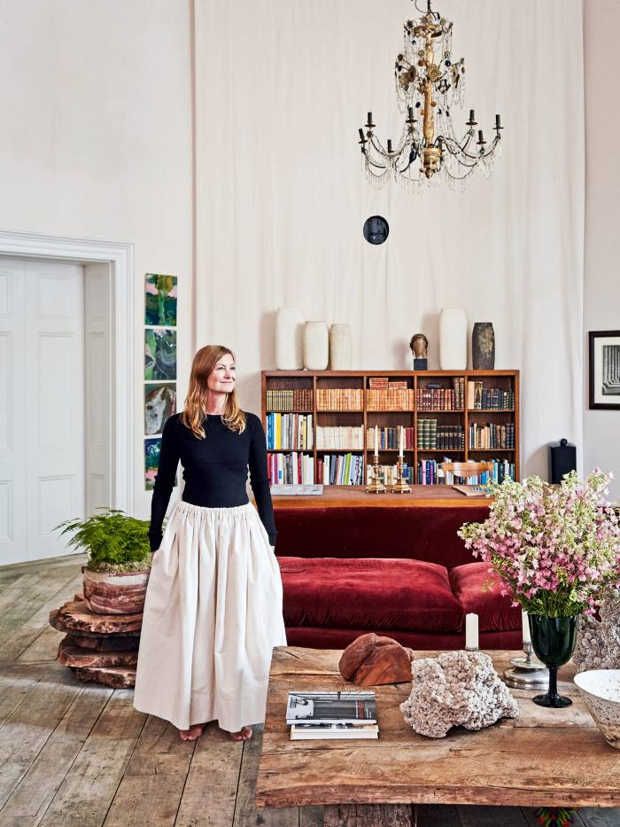 The shelves of Rose Uniacke – doyenne of chic interiors and furniture design – appear insouciant in their placement but have immaculate perspective. The books are more modest in number, but here sits a trove of first editions, including a near-complete set of Ian Fleming's Bond