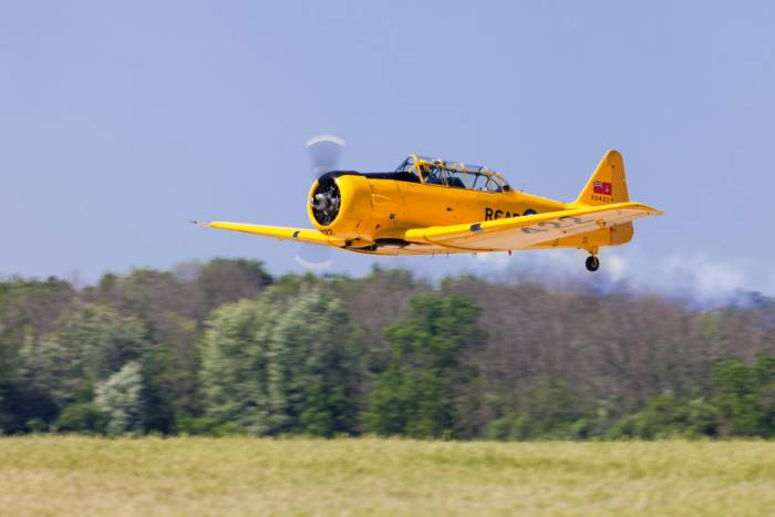 A Canadian Harvard in flight. Harvard training planes were made from the 1930s to 1970s