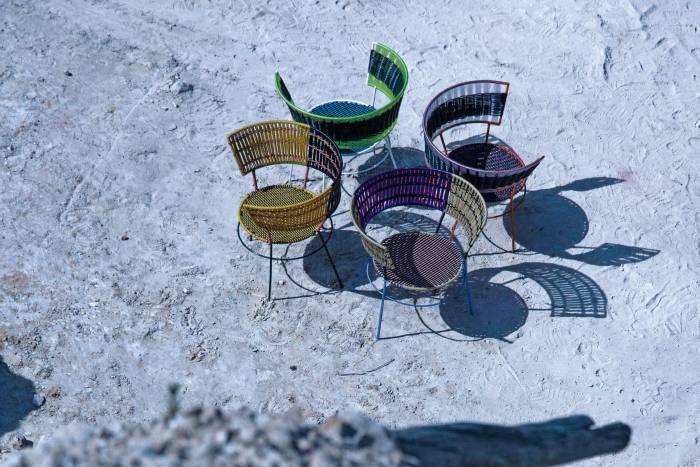 Marni iron andPVC Moon Market chairs,£475 each, from LuisaViaRoma