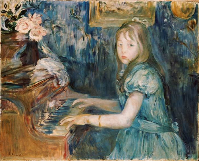 An oil painting with free brushstrokes of a girl in a blue dress at the piano