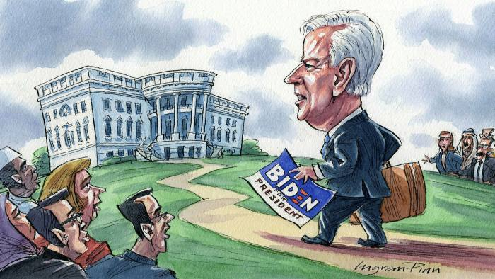 Ingram Pinn's illustration of Phillip Stephens column 'America's allies should prepare for a Biden presidency'