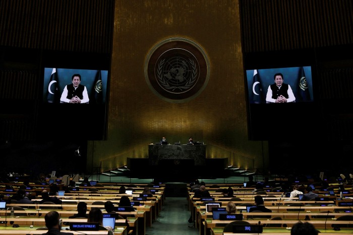 Prime Minister from the Islamic Republic of Pakistan Imran Khan addresses via prerecorded video thethe General Debate of the 76th session of the United Nations General Assembly at UN headquarters on September 24, 2021, in New York