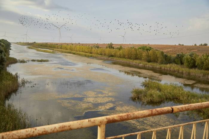 The North Crimean Canal is seen with a low level of water