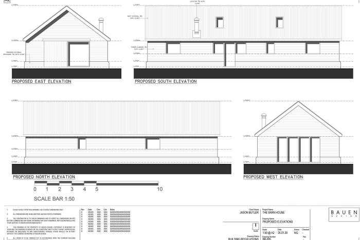 The plans for Butler's single-storey, two-bedroom barn-style design in Suffolk
