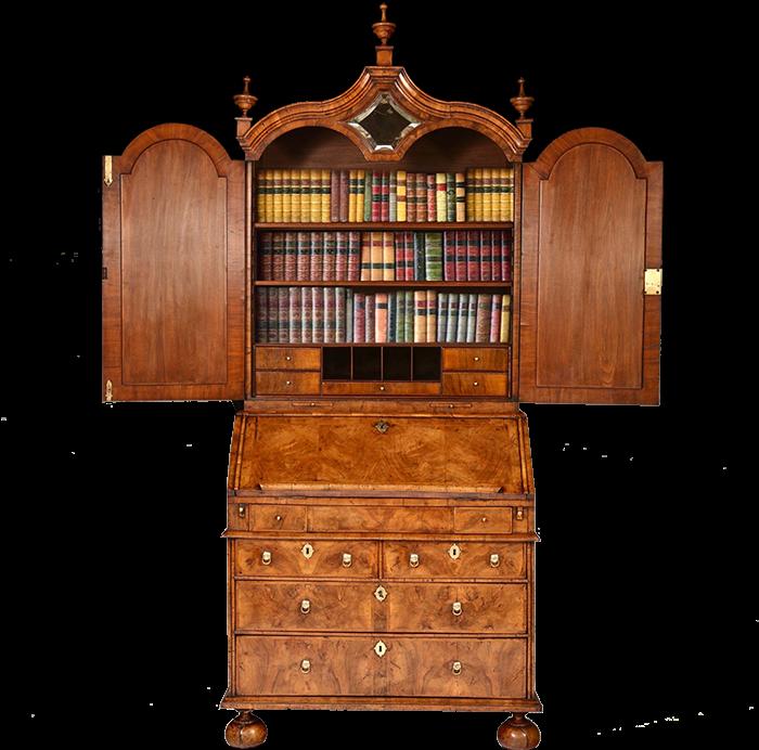 Alexander George Antiques' pagoda-topped bureau bookcase