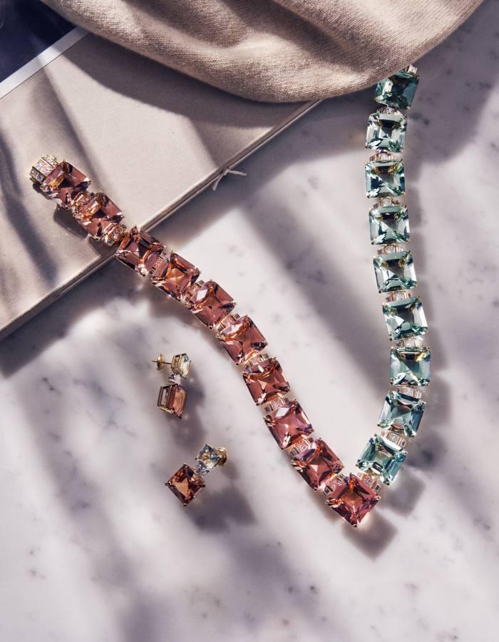 Tiffany gold, diamond, beryl andmorganite necklace, POA, and gold, platinum, diamond, beryl and morganiteearrings, POA. Loro Piana cashmere pullover (just seen), £1,025
