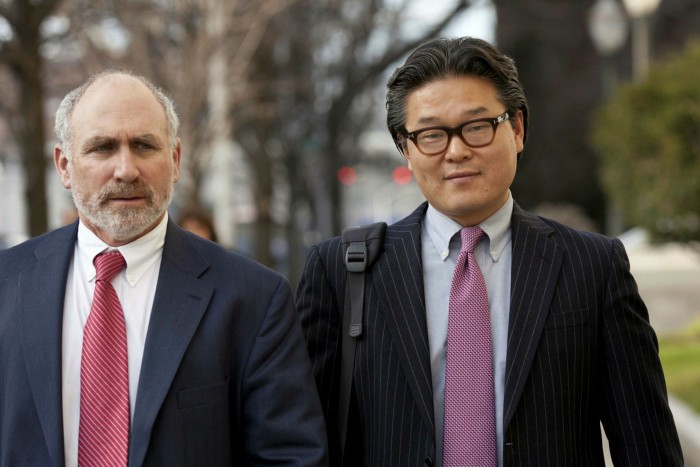 Bill Hwang, right, and his Archegos Capital family office used billions of dollars borrowed from Credit Suisse and other lenders to make highly leveraged bets on a group of stocks whose prices plummeted