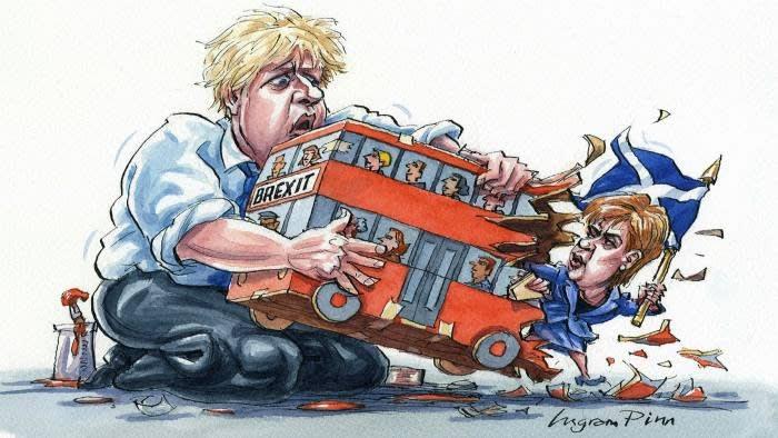 La visita de Boris Johnson a Escocia se produce después de que las encuestas sugirieran que la mayoría de los votantes en un referéndum escocés respaldaría la independencia.