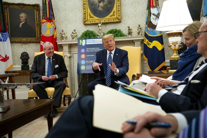 US president Donald Trump speaks during a meeting at the White House. Reports the US tried to buy a German biopharma company developing a potential vaccine caused fury in Berlin