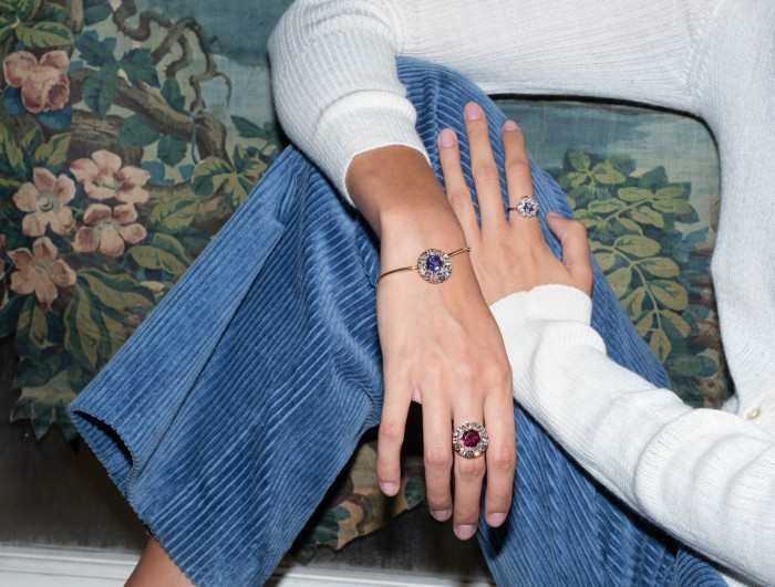 Selim Mouzannar rose gold, diamond and tanzanite ring and bracelet, $ 3,650, and bracelet, $ 13,020, and rose gold, diamond and rhodolite ring, $ 7,260