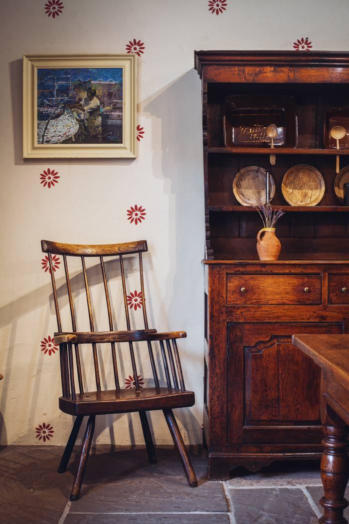 An 18th-century Welsh stick chair, £4,450, and oak dresser, £7,250