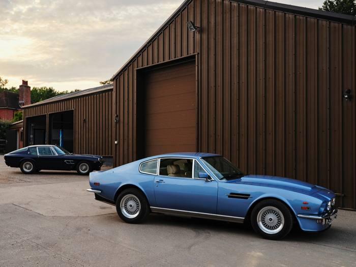 Anderson's Aston Martin V8 Vantage (right)and Maserati Mistral