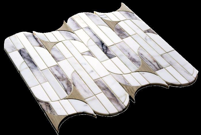 Kelly Wearstler x Ann Sacks Liaison Obelisque tile in Lilac Thassos, about $1,076 per sq m