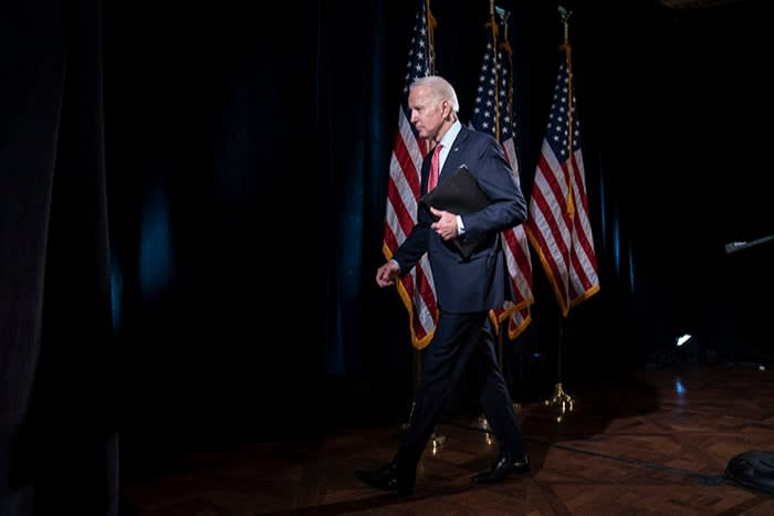 Biden at the Hotel Du Pont in Wilmington, Delaware, after giving a talk about Covid-19 on March 12. Seen as 'yesterday's news' a month earlier, by this point he was one of the frontrunners for the Democratic nomination