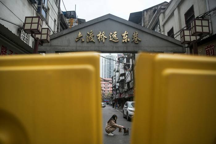 Barricades outside a residential compound in Hubei province, China in March