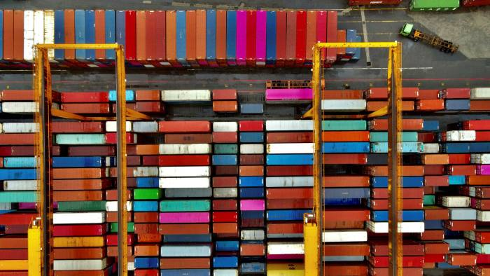 Shipping containers at a port