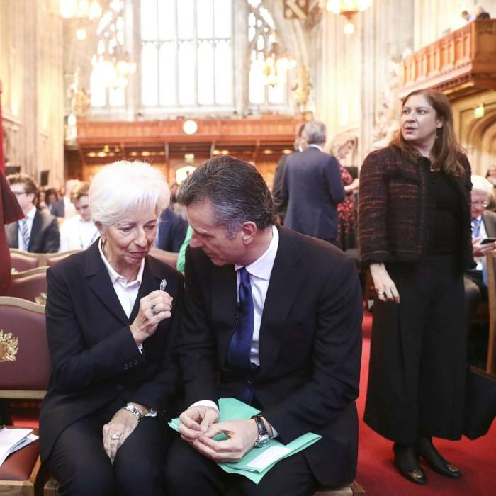 European Central Bank president Christine Lagarde with Philipp Hildebrand of Blackrock, in London. BlackRock, the $6.8tn asset manager, and other large investors have proclaimed an urgent need to arrest global warming