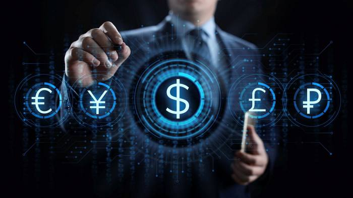 Currency symbols on a screen