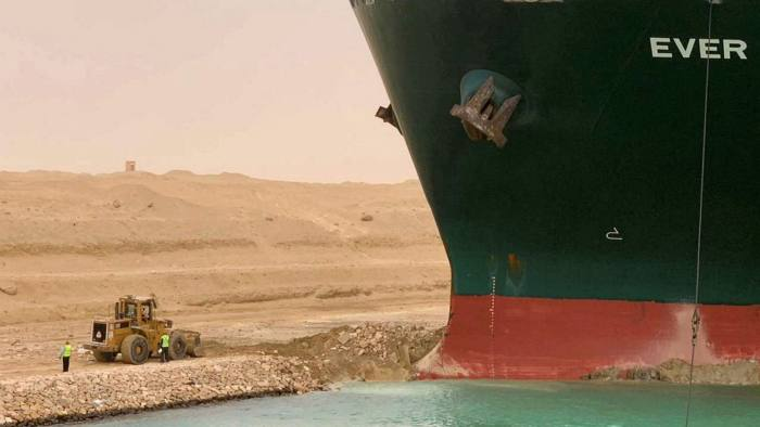 The Ever Given vessel stuck in Suez Canal