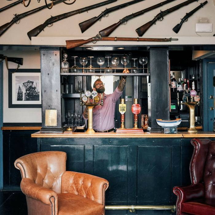 On the east side of the Isle of Dogs, The Gun is one of Docklands' more characterful pubs