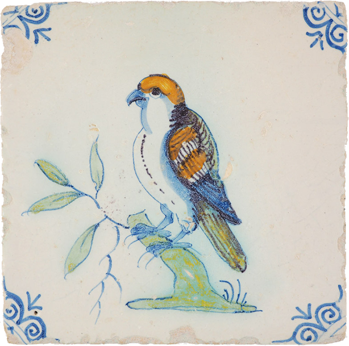 Delft tile with bird of prey, c1640, from specialist Durk Regts