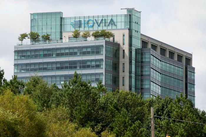 A logo sign outside the headquarters of IQVIA in Durham, North Carolina