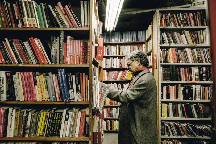 Chopra browsing at the Strand bookshop in New York