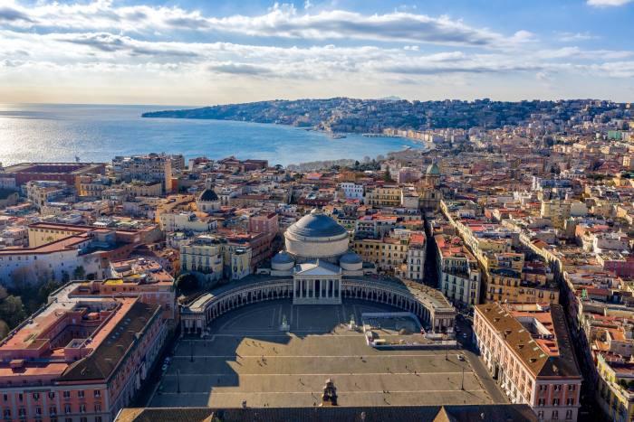 The Piazza del Plebiscito and the Bay of Naples