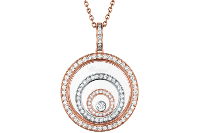 Chopard white- and rose-gold and diamond Happy Diamonds necklace, £9,710
