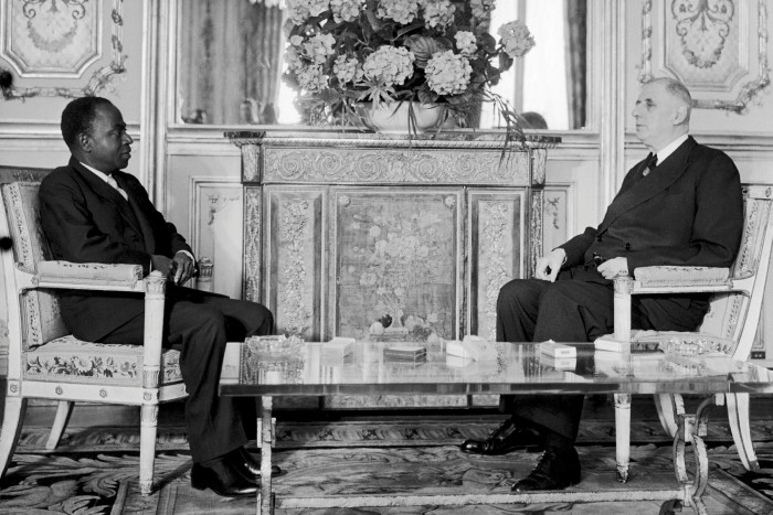 The Francophile Félix Houphouët-Boigny, who led Ivory Coast from independence in 1960 until his death in 1993, with then French leader Charles de Gaulle in Paris in 1961