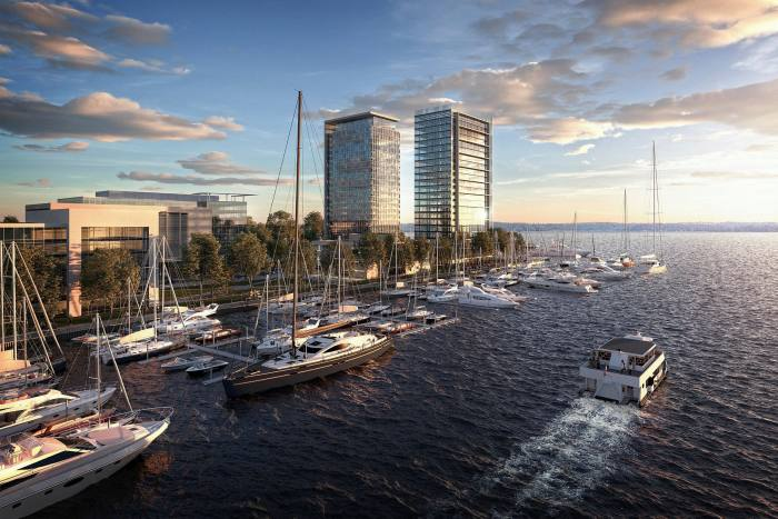 Peninsula, as the site is known, is part of Harbor Point, a 100-acre development in Stamford . . .