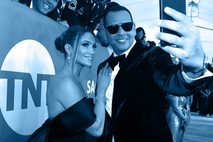 Jennifer Lopez, left, and Alex Rodriguez take a selfie as they arrive at the 26th annual Screen Actors Guild Awards at the Shrine Auditorium & Expo Hall on Sunday, Jan. 19, 2020, in Los Angeles. (Photo by Matt Sayles/Invision/AP)