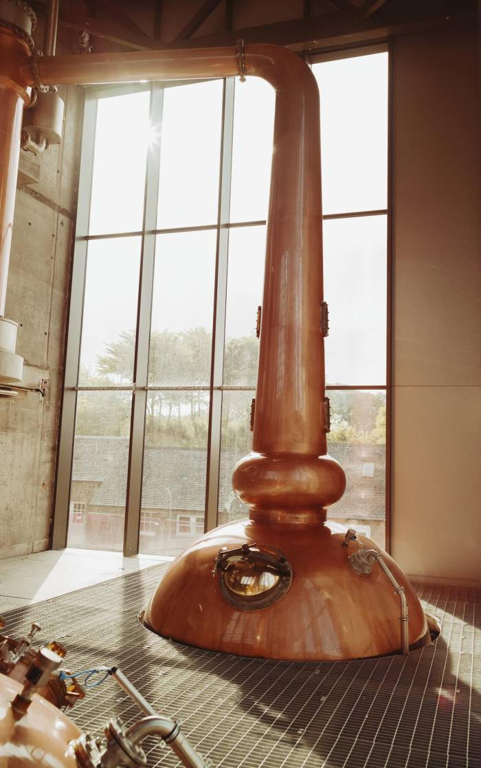 One of the two state-of-the-art copper pot stills in the Glenmorangie Lighthouse