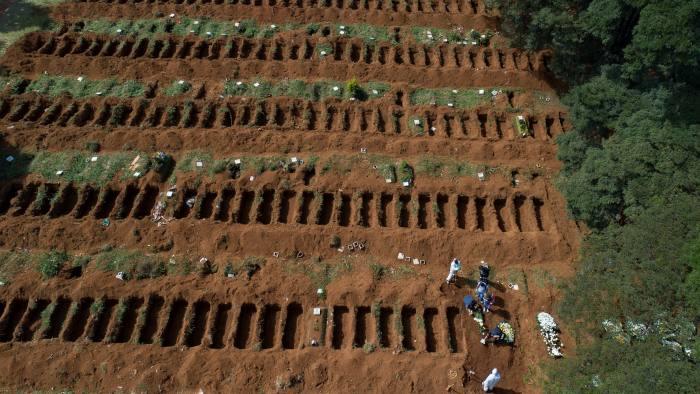 Freshly dug graves at the Vila Formosa cemetery in São Paulo, Brazil
