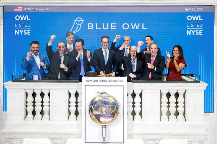 The New York Stock Exchange welcomes executives and guests of Blue Owl on May 20 to celebrate its listing