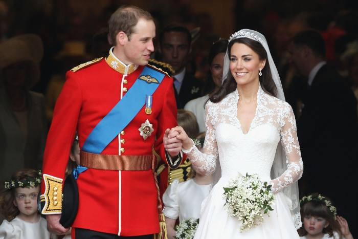 """The Duchess of Cambridge wearing the Cartier """"Halo"""" tiara on her wedding day"""