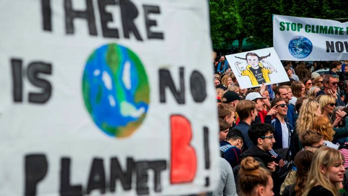 A climate change protest in 2019