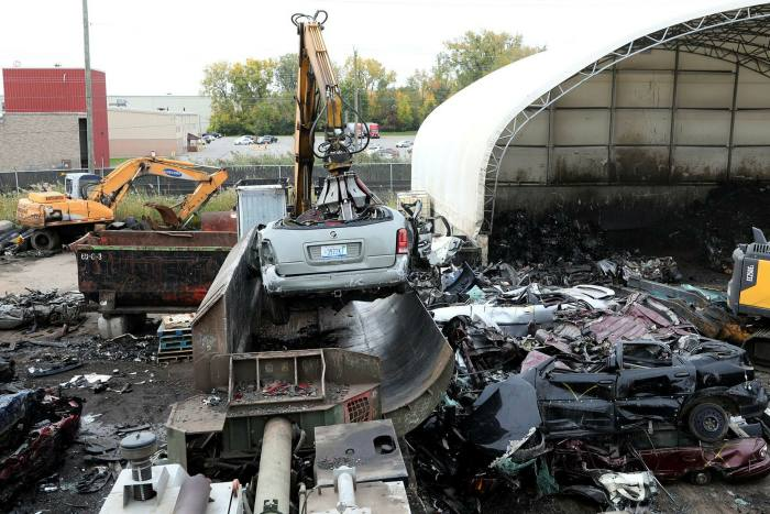 The vehicle is inserted into the car crusher for reset