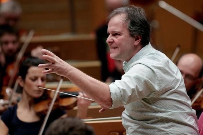 Finnish conductor Sakari Oramo conducting the RoyalStockholmPhilharmonicOrchestra