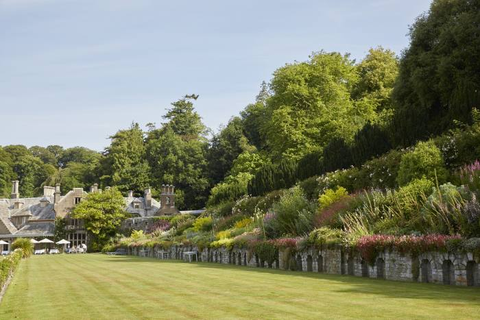 The formal lawn at Hotel Endsleigh, where guests can play ping pong, croquet and giant Jenga