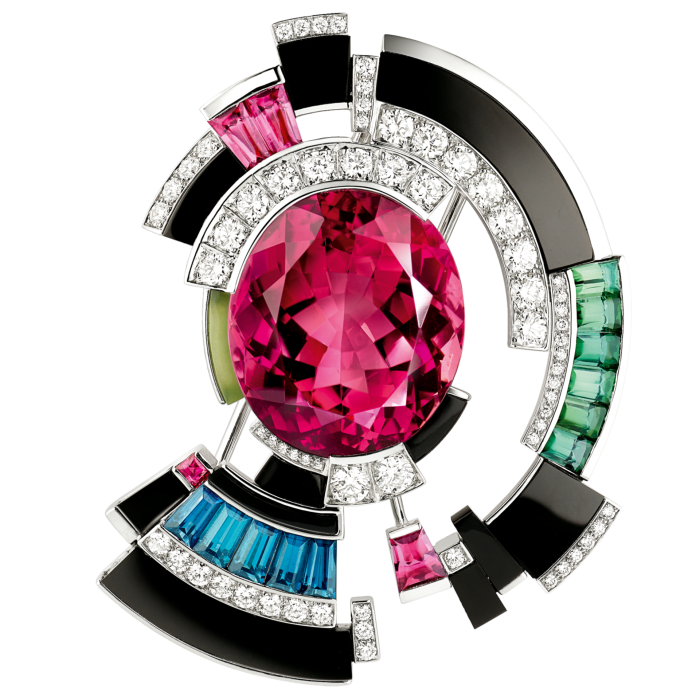 Chaumet Perspectives de Chaumet rubellite, green and pink indicolite tourmaline, jade, diamond, onyx and white-gold Labyrinthe brooch, POA
