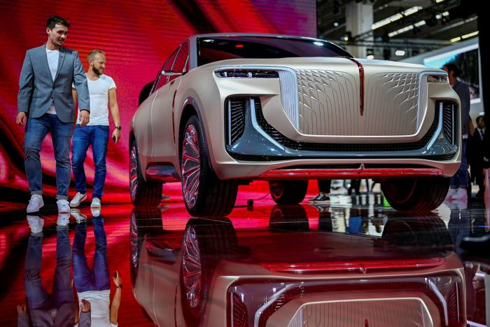 An electric SUV sits on display during the media preview day at the Hongqi stand at the 2019 IAA Frankfurt International Auto Show