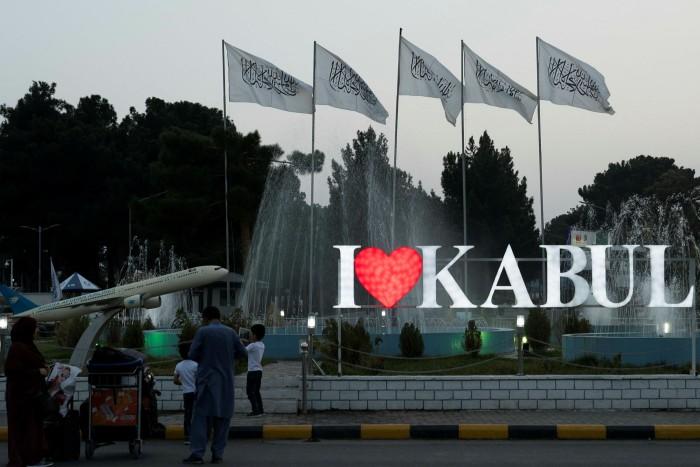 Taliban flags fly at Kabul airport