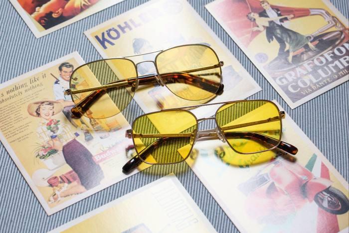 Moscot Shtarker sunglasses, £375, and Noodge Sun sunglasses, £285